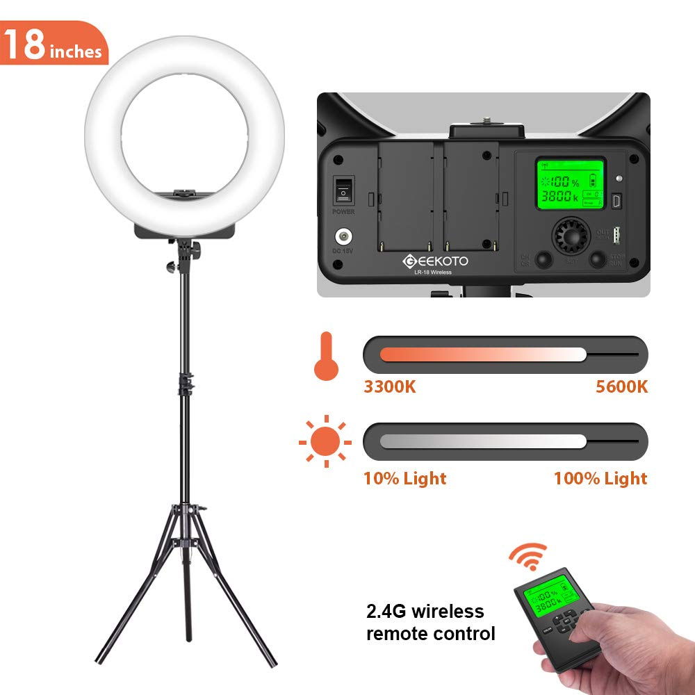 GEEKOTO Ring Light with Wireless Remote Control and LCD Display, 18-inch Dimmable LED Ring Light with Bi-Color 3300-5600K for Smartphone and Camera, Ideal for Live Streaming Makeup Vlogging Selfie