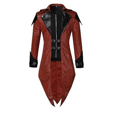 ZOODF Chaqueta Gótico Steampunk para Hombre Jacket Vintage Abrigos ...