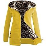 Coversolate Mujeres más terciopelo con capucha de encapuchado con capucha Leopard Zipper Coat