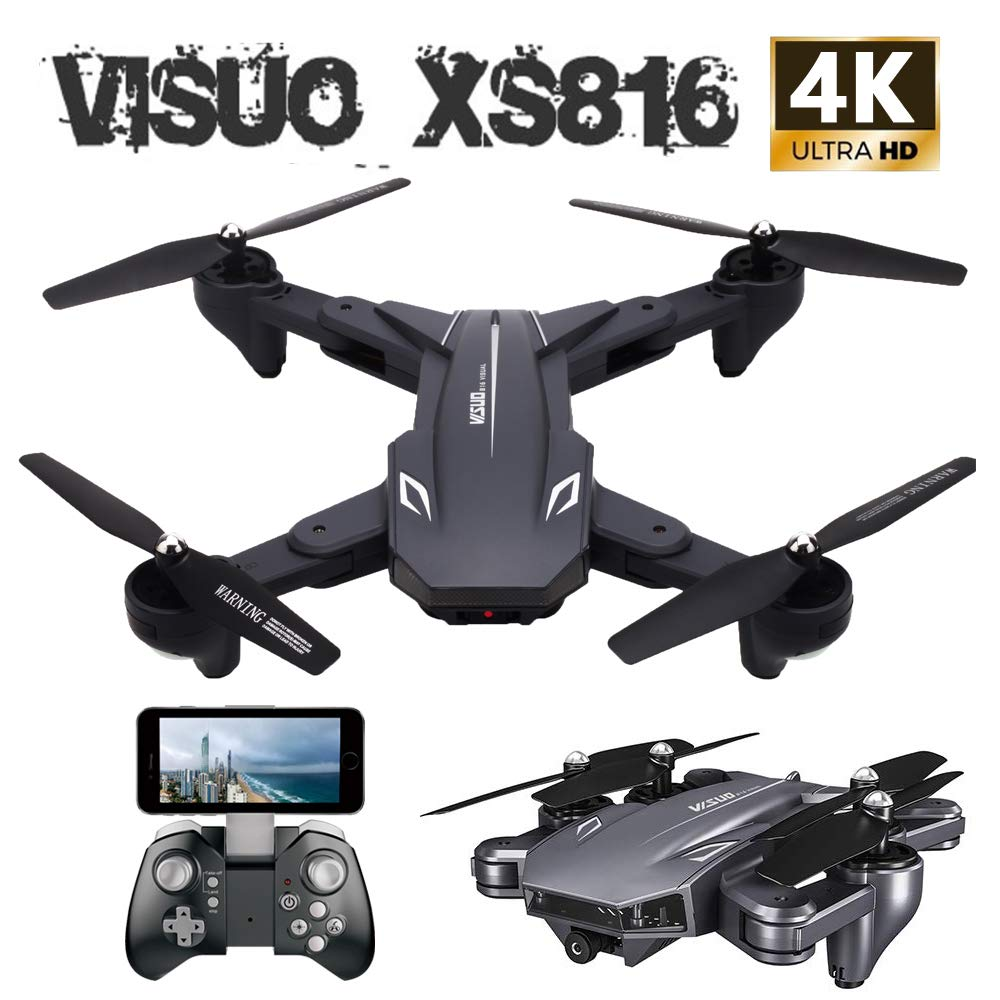 VISUO XS816 4k Drone with Camera Live Video, Teeggi WiFi FPV RC Quadcopter with 4k Camera Foldable Drone for Beginners - Altitude Hold Headless Mode One Key Off/Landing APP Control Long Flight Time by Teeggi