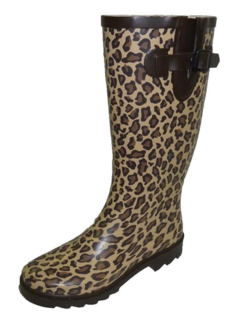 Cambridge Select Women's Pattern Print Colorful Waterproof Welly Rain Boots (9 B(M) US, Leopard)