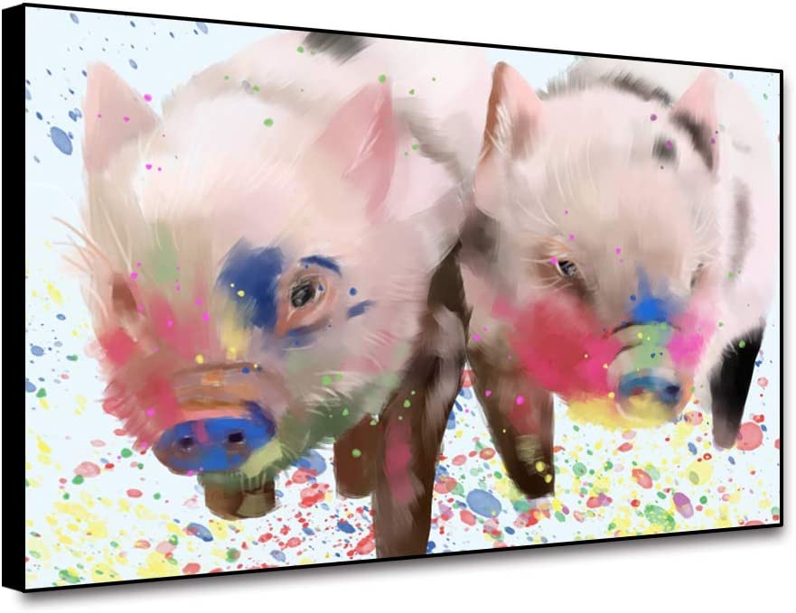 "Canessioa Pink Pig Decorations Framed Nursery Wall Pig Pet Painting Cute Animals Wall Art 18""x12"" Colorful Oil Painting Modern Picture for Living Room Baby Bedroom Kitchen Dining Room Bar Wall Decor"