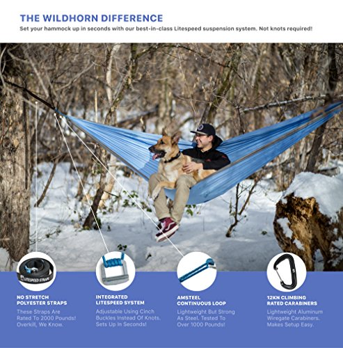WildHorn Outfitters Outpost Double/Single Camping Hammock with 11' Tree Straps - 100% Parachute Nylon - Cinch Buckle Design, No Knots Required - Easiest Hammock to Hang