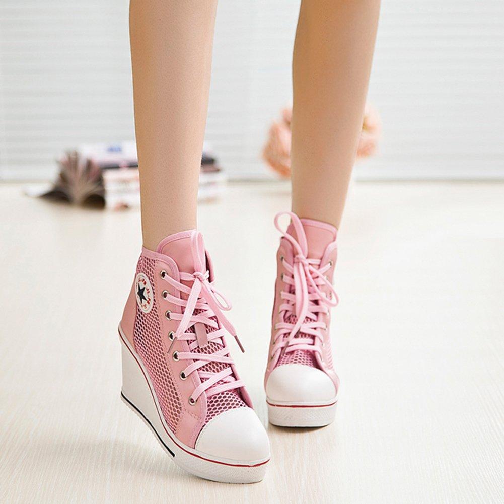 Kivors Turnschuhe, zum mit Keilabsatz, aus Leinen, mit Seitenreißverschluss, zum Turnschuhe, Schnüren, für Damen, Mädchen Pink 2 7b98af