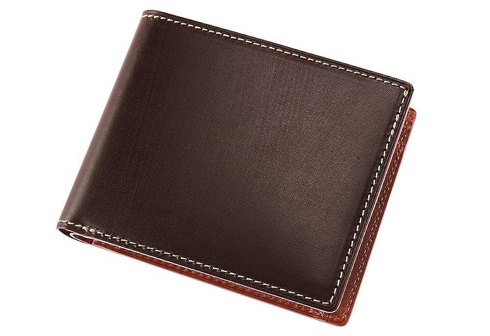 【キプリス】二つ折り財布(小銭入れ付き札入)■ブライドルレザー&ルーガショルダー B0736RZ22Tチョコ/オレンジ