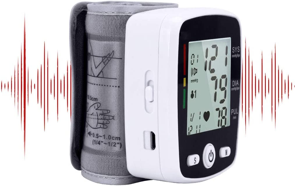 HONGER Digital Blood Pressure Monitor Wrist Machine, Voice Broadcast Clinical Accuracy, USB Rechargeable Measuring Watch 2 Users99 Memory for Home Use