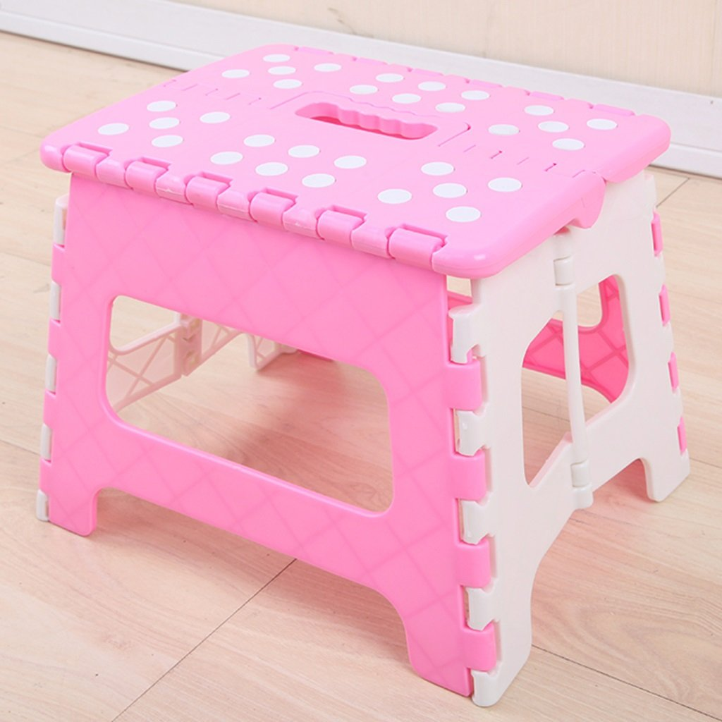WANGXIAOLIN Thick Plastic Folding Stool Children's Stool Multi-color Multi-function (Color : Pink)