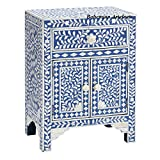 BOHEMIAN ARTEFACTS Bone Inlay Flower Design Bedside / Side table - BLUE -17(L)X24(H)X12(D) inches