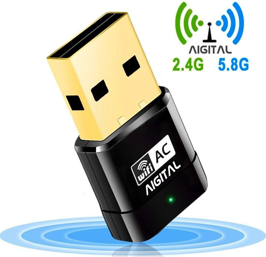 USB WiFi Adapter 600Mbps Aigital USB WiFi Dongle Wireless Network Adapter with Dual Band for Desktop,Mini Size, Easy Installation,Support Win XP/Vista/7/8/10,Mac OS X