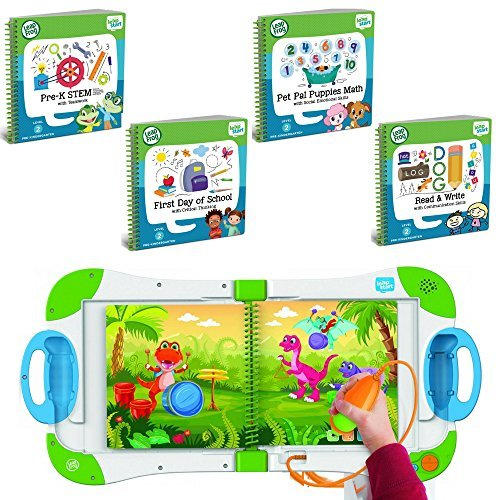 LeapFrog LeapStart Preschool, Pre-Kindergarten Interactive Learning System For Kids Level 2 Ages 2-4 With Junior Activity Books: STEM, Math, Read & Write & First Day of School Fun Activity Bundle