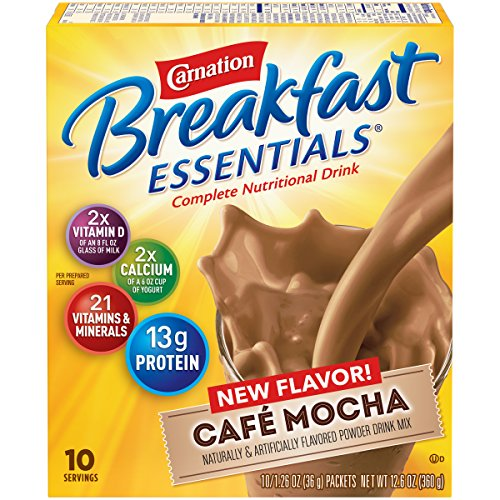 Carnation Breakfast Essentials Powder Drink Mix, Café Mocha, 1.26 oz, 10 Count Envelopes (Pack of 6) (Cafe Express Cafe Mocha)