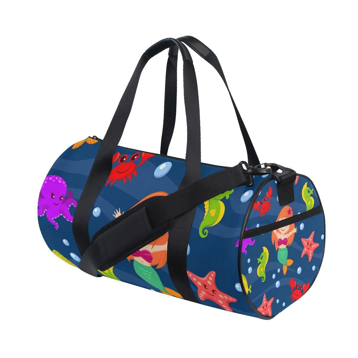 WIHVE Gym Duffel Bag Cartoon Mermaid Sea Crab Starfish Animals Sports Lightweight Canvas Travel Luggage Bag