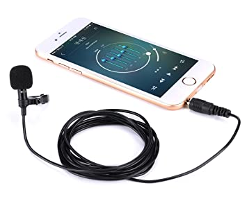Lavalier Microphone, Professional Lapel Clip-on Omnidirectional Condenser Mic for iphone,Android,