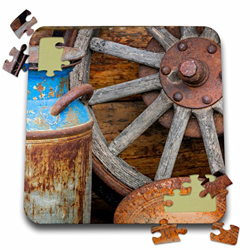 Danita Delimont - Western - USA, Alaska. Antique milk can, wagon wheel and gold pan. - 10x10 Inch Puzzle (pzl_278344_2) -
