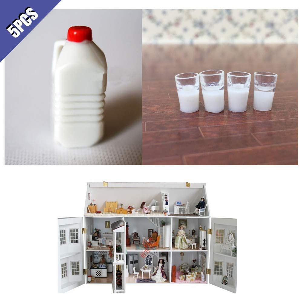 1:12//1:6 Dollhouse Miniature Scene Mode Milk Set Pretend Play Toy SXFSE Dollhouse Decoration Accessories