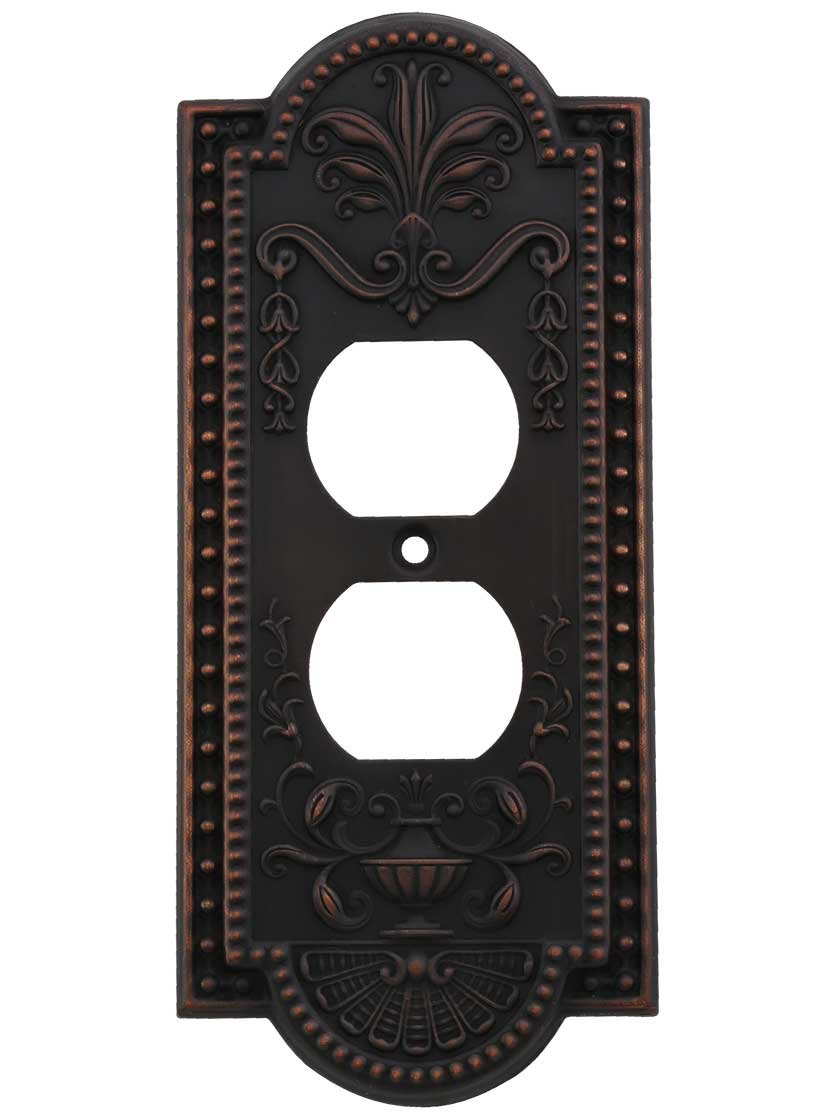 House of Antique Hardware R-010SE-282-TB Como Single Duplex Cover Plate in Timeless Bronze