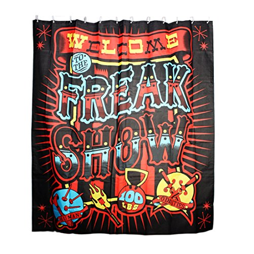 Freak Show Print Water Resistant Shower Curtain w Ring Hooks...