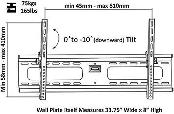 Low Profile Ultra-Slim Black Adjustable Tilt/Tilting Wall Mount ...