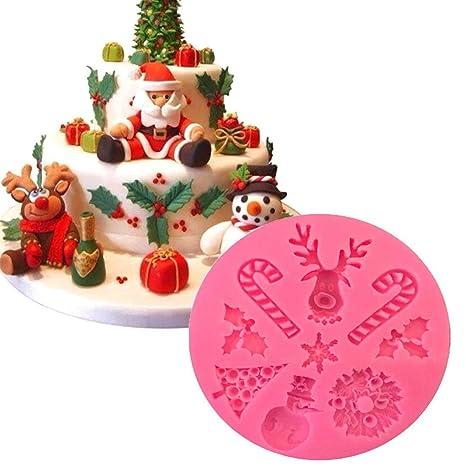 Navidad Alce en Forma de Molde de Pastel de Silicona Fondant de azúcar Molde de azúcar