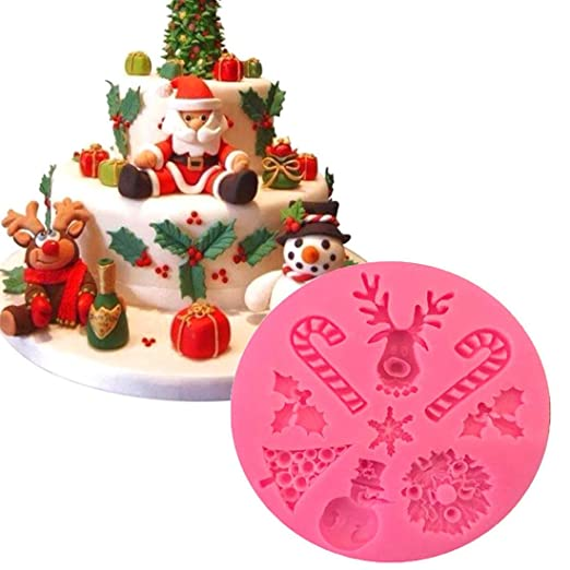 Amazon.com: 1 piece Good Christmas Elk cakemolds Silicone Snow Fondant Mold Sugar Craft Cake Decorating Snowman Silicone Mold: Kitchen & Dining