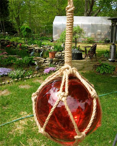 (Ruby Red Blown Glass Float W/rope 12