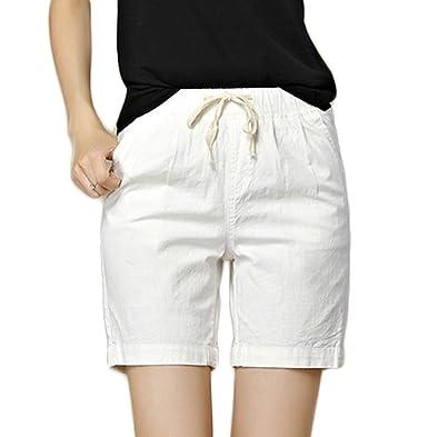 281a9a00f048a Elonglin Femme Shorts décontractée Été Vacances Lin Bermuda Shorts Casual  Pantalon Courte Taille élastiqué Cordon de