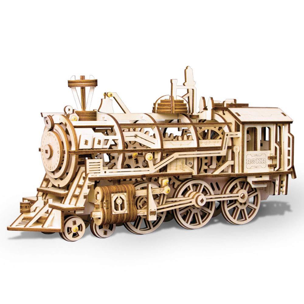 Rompecabezas de madera en 3D Modelo de tren mecánico Auto-ensamblaje (locomotora) Constructor de ensamblaje, enigma, el mejor juguete de bricolaje, juego de inteligencia para adolescentes y adultos