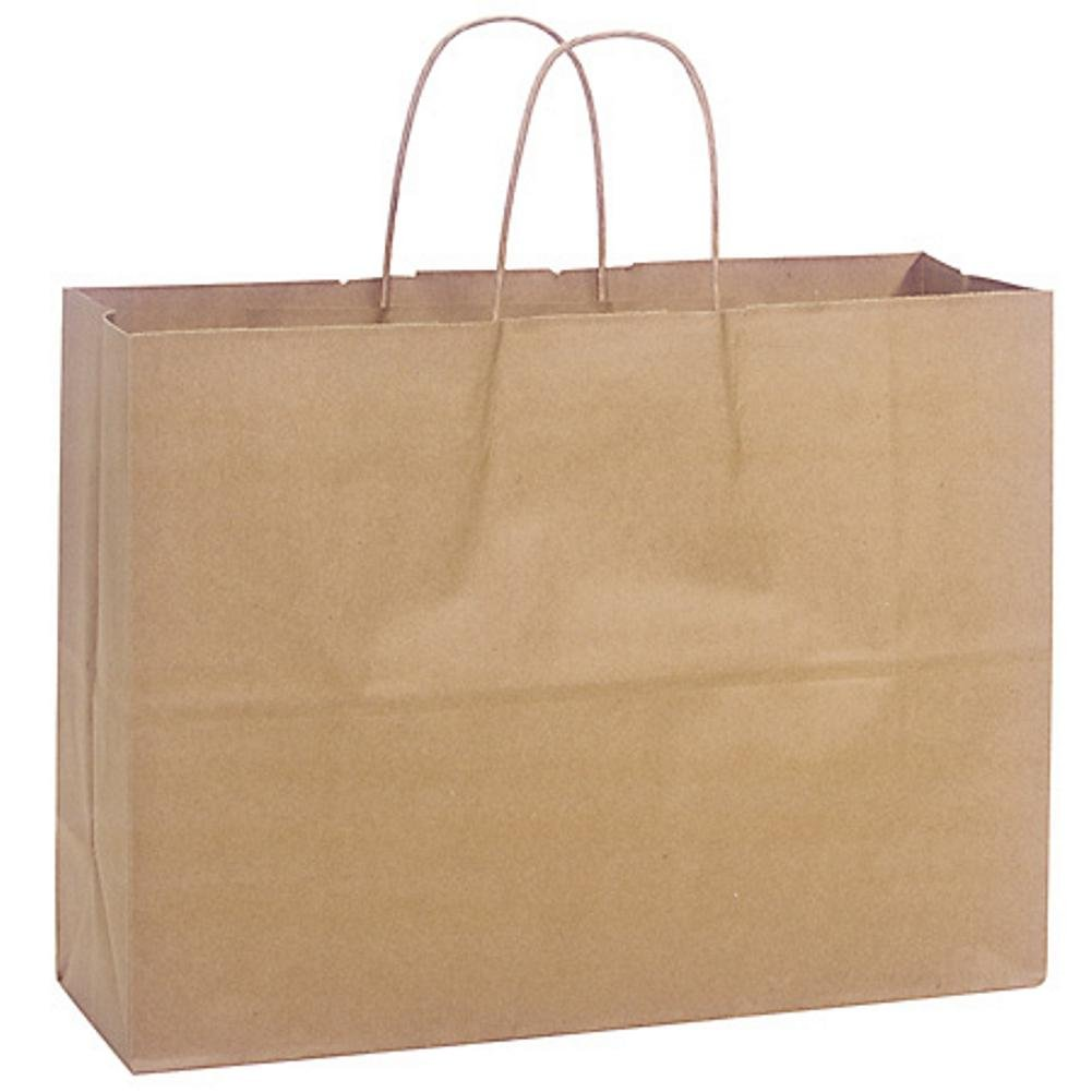 Natural Kraft Shopping Bags - Vogue Sized - 16x6x12.5in. - 250 Pack