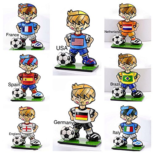 ROMERO BRITTO ORIGINAL 8 WORLD CUP MINI SOCCER PLAYER FIGURINES- SET OF 8 by Gift Craft