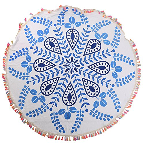 ANswet Superior Manual Beaded Tassel 100% Cotton 59 inches Round Beach Towel Throw Tapestry Gypsy Tablecloth Yoga Mat 900 Grams of cut velvet Super Soft (small snowflake petal tassels)