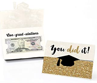 product image for Big Dot of Happiness Gold - Tassel Worth The Hassle - Graduation Money Holder Cards - Set of 8