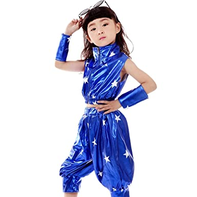 bc160ef9e KINDOYO Kids Girls Boys Stars Jazz Dance Costumes Stage Performance Hip-Hop  Dance Wear Outfits