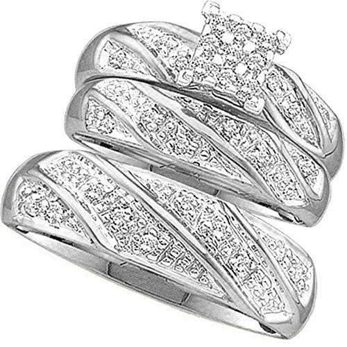 030-Carat-ctw-10K-Gold-Round-White-Diamond-Men-Womens-Cluster-Engagement-Ring-Trio-Set-13-CT