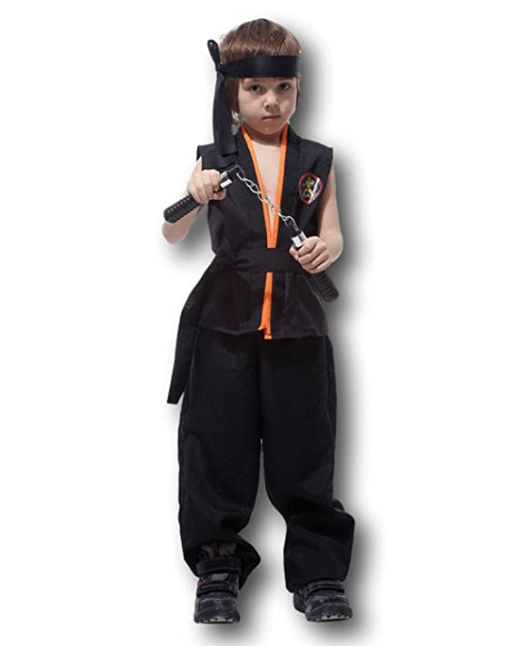 Rubber Johnnies Kids Karate Costume, USA, All American (Black, 7-9)