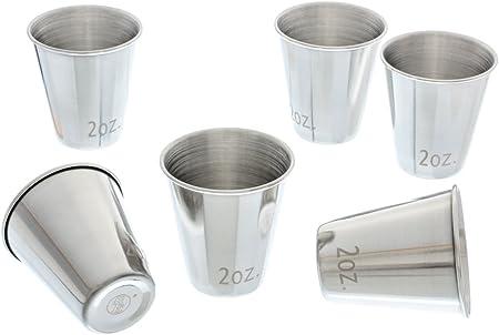 2 fl SE DJ-SG62 Stainless Steel Shot Glass Set Capacity oz 6 PC.