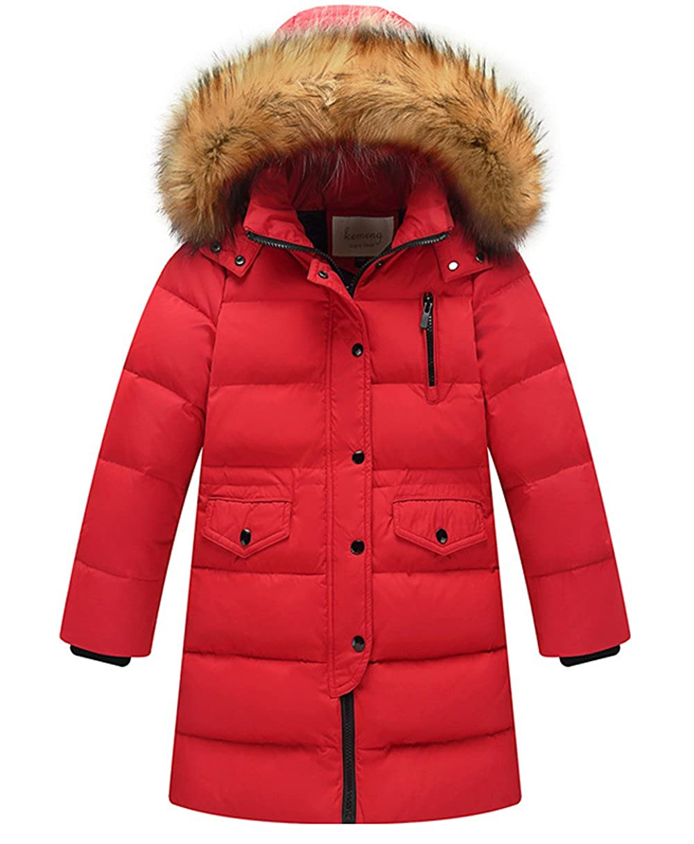 Big Girls' Winter Parka Down Coat Puffer Jacket Padded Overcoat with Fur Hood