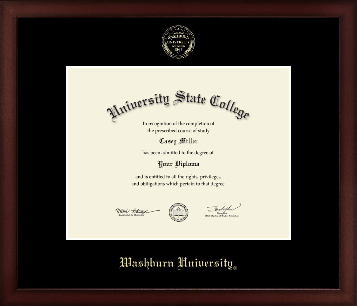 Washburn University - Officially Licensed - Gold Embossed Diploma Frame - Diploma Size 11'' x 8.5''