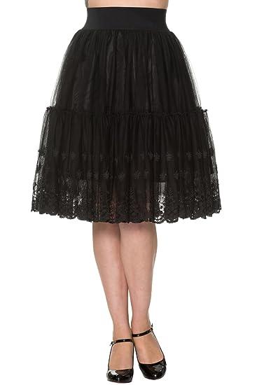 Banned - Falda - con Volantes - para Mujer Negro Marfil 40: Amazon ...