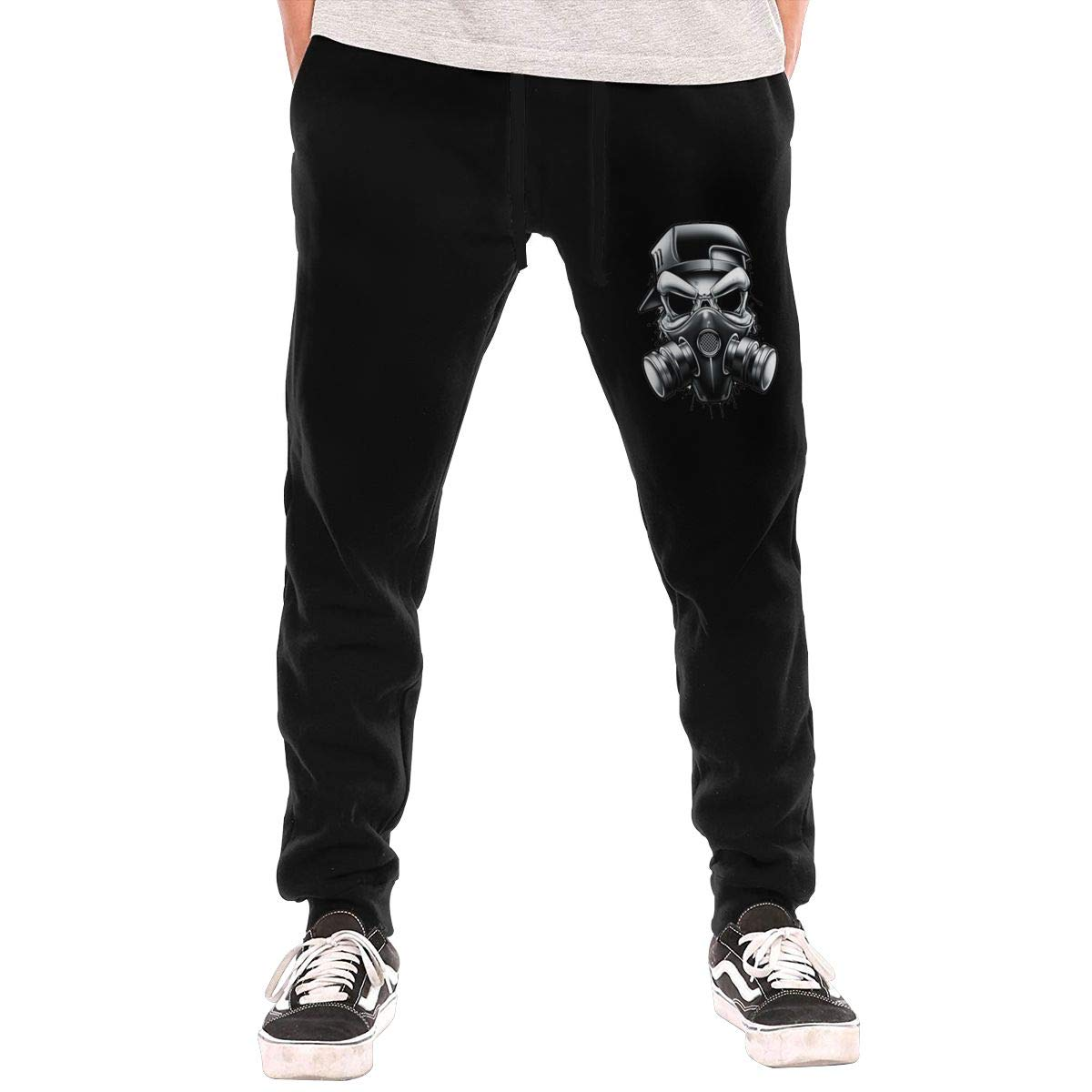 Skull Gas Mask Drawstring Waist,100/% Cotton,Elastic Waist Cuffed,Jogger Sweatpants