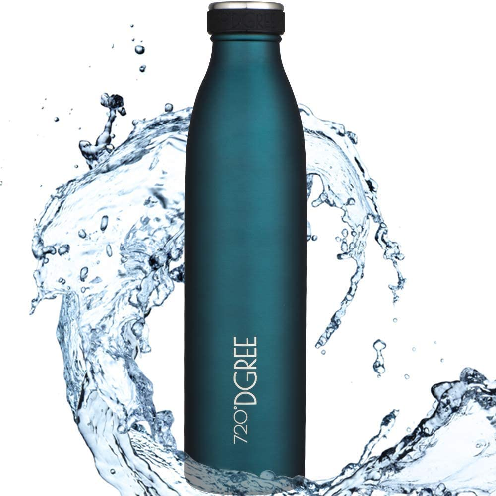 """720°DGREE Botella Agua Acero Inoxidable """"milkyBottle"""" – 1litro - Sin BPA Free, Antigoteo y Prueba de Fugas - Frasco térmico, Cantimplora Aislada - Bebida con Gas, Deporte, Escuela, Gimnasio Exteriore"""