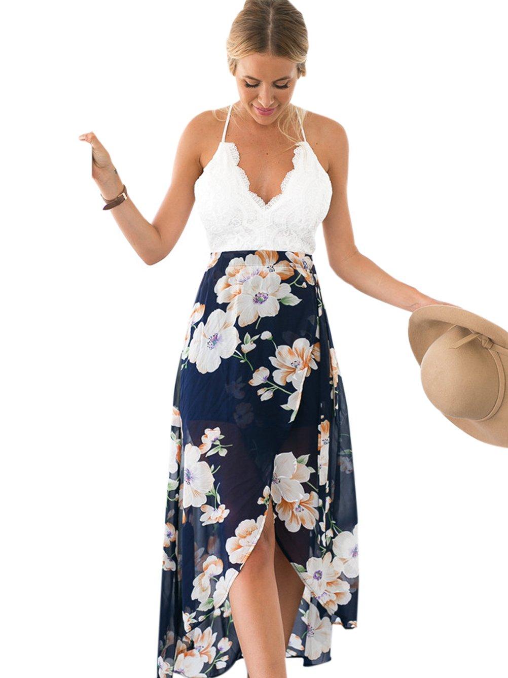 Blooming Jelly Women's Open Back Deep V Neck Sleeveless Summer Floral Maxi Dress (M)