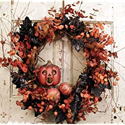 Halloween Wreath with Pumpkin Man