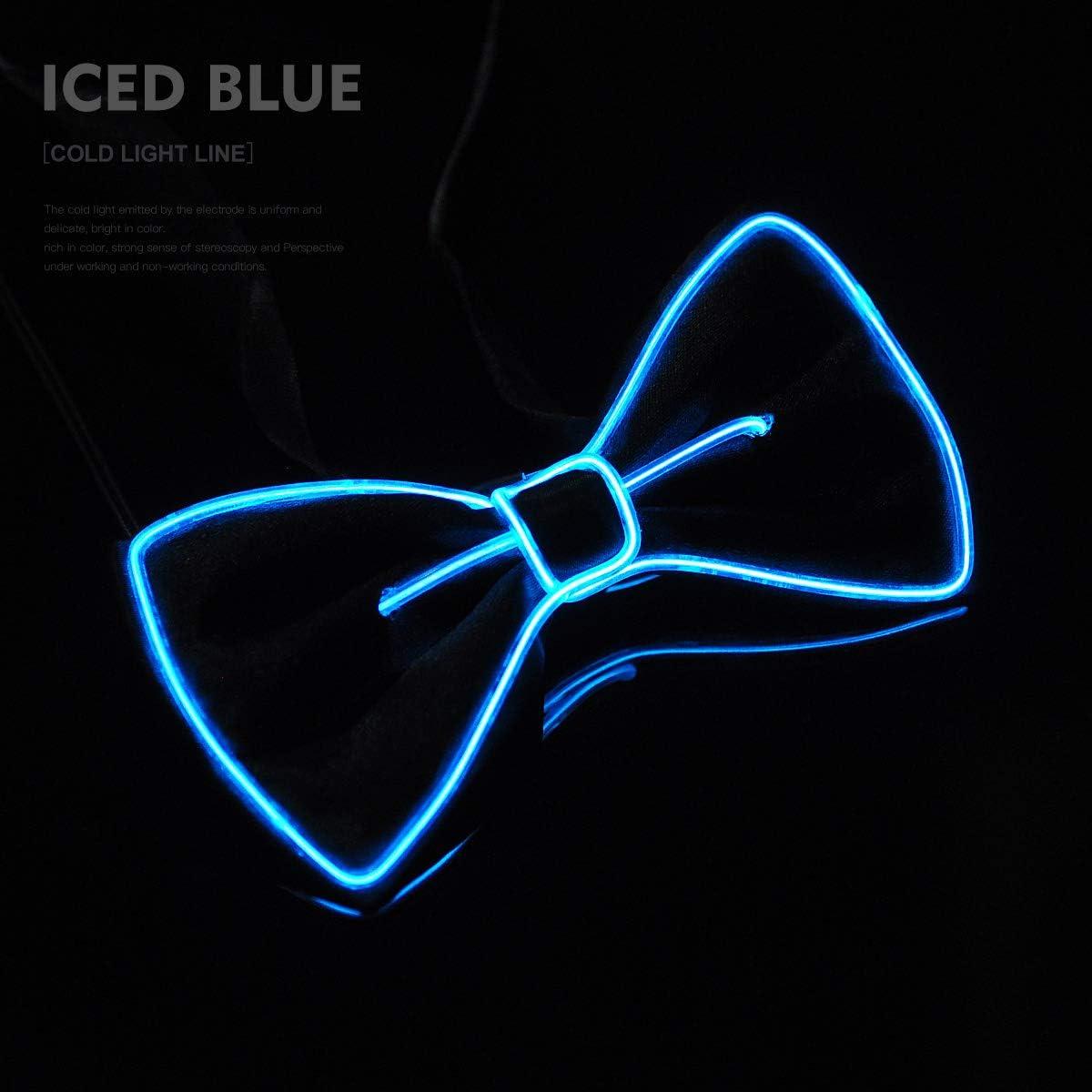Aogbithy LED papillon 10 colori luci novit/à cravatta brillante faretto uomini donne ragazzi Natale accessori batteria AA alimentatore di rete