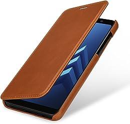 StilGut Book Type Case, Custodia per Samsung Galaxy A8 (2018) a Libro Booklet in Vera Pelle, Cognac