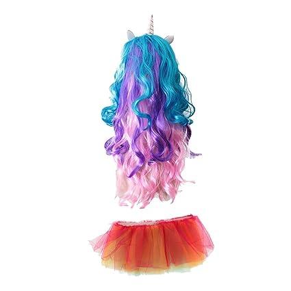MagiDeal Peluca Ondulado Largo Huerno Unicornio para Chicas + Multicolor LED Iluminado Tutú Falda Traje