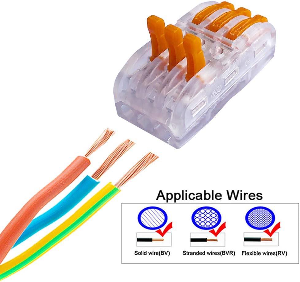 Bilateral 6 Agujero Transparente Conductor Compacto Cable Conector R/ápido Resorte Conector Bloque Terminal QitinDasen 12Pcs Premium Palanca Tuerca Cable Conector Set
