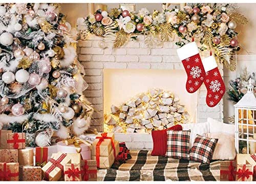 Demohome 7x5ft Durable Fabric White Wooden Wall Christmas Backdrop Xmas Snowflake Wood Photography for New Year Party Supplies Background Pictures Banner Photo Studio Decor Booth Props