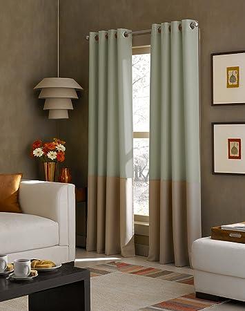 Amazon.com: Curtainworks Kendall Color Block Grommet Curtain Panel ...