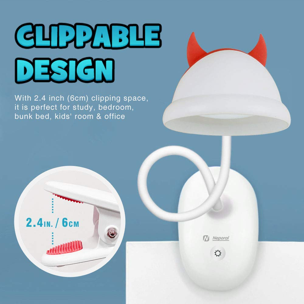 Cute Rechargeable 15 LEDs Clip On Light 4500K 3 Brightness Dimmable Book Light with Flexible Gooseneck Up to 40 Hours Battery-Operated-Reading-Light-Rechargeable for Bed Bookworms and Kids