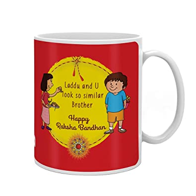 Indi ts Rakhi Gifts For Brother Laddu And U Look Same Quote Printed Gift Set Mug 330 Ml Crystal Rakhi Roli & Greeting Card